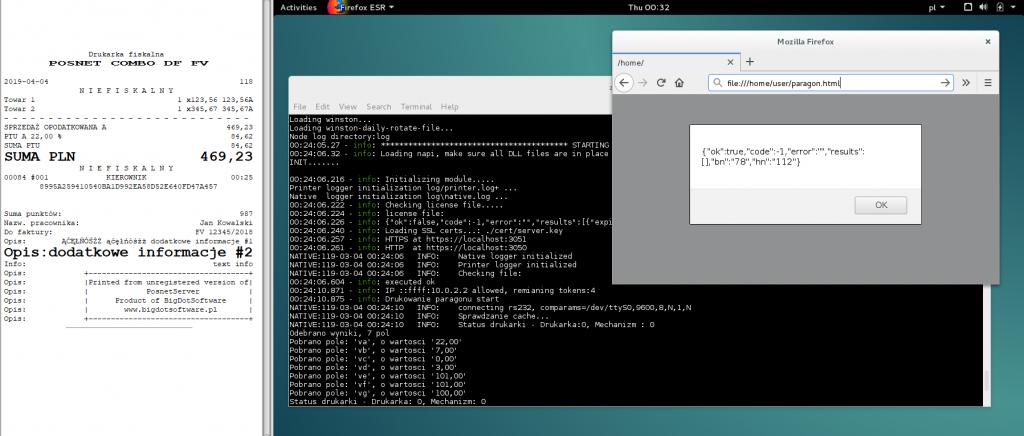 PosnetServer uruchomiony na Debianie 8